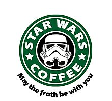 May the froth be with you - Coffee Star Photographic Print