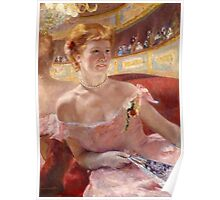 Mary Cassatt - Woman with a Pearl Necklace in a Loge 1879 Poster