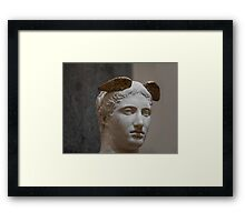 Mercury head stone sculpture Framed Print