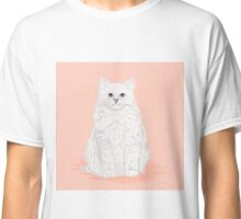 Fluffy white cat pet friendly pet portraits custom cat lady gifts  Classic T-Shirt