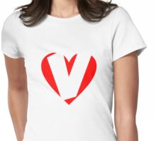 I love V - Heart V - Heart with letter V Womens Fitted T-Shirt
