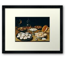 Osias Beert the Elder - Dishes with Oysters, Fruit, and Wine  Framed Print