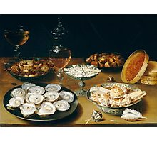 Osias Beert the Elder - Dishes with Oysters, Fruit, and Wine  Photographic Print