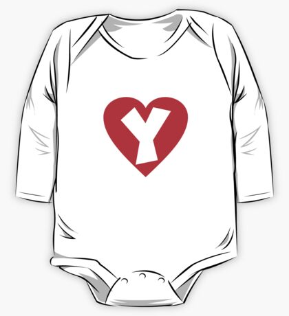 I love Y- Heart Y - Heart with letter Y One Piece - Long Sleeve