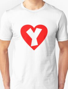 I love Y- Heart Y - Heart with letter Y Unisex T-Shirt