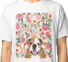 English Bulldog florals flower pattern dog portraits bulldog owners Classic T-Shirt