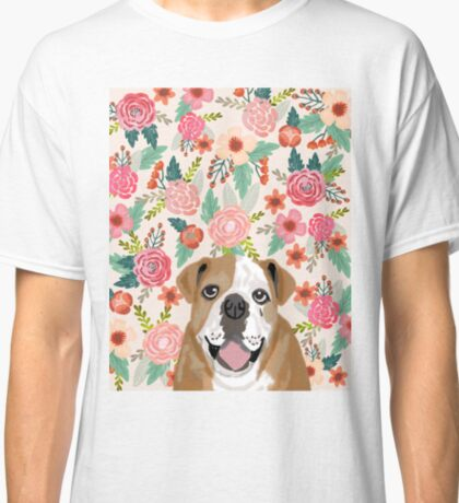 English Bulldog florals flower pattern dog portraits bulldog owners Classic T-Shirt