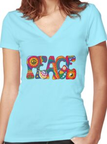 Psychedelic Peace Women's Fitted V-Neck T-Shirt