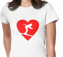 I love Skiing Heart Womens Fitted T-Shirt