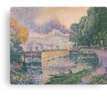 Paul Signac - The Tugboat, Canal in Samois .   Landscape Canvas Print