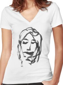 GIRL ONE Women's Fitted V-Neck T-Shirt