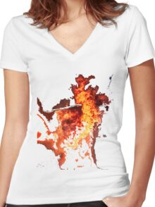 Firestorm - Faces In The Fire Women's Fitted V-Neck T-Shirt