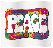 Psychedelic Peace and Love Poster
