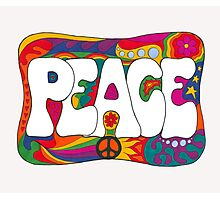 Psychedelic Peace and Love Photographic Print