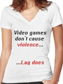 Video games don't cause Violence Women's Fitted V-Neck T-Shirt