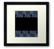 Blue mosaic yellow floral border Framed Print