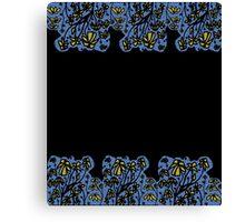 Blue mosaic yellow floral border Canvas Print