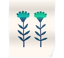 Folk Flowers Botanical - Blue Poster