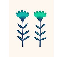 Folk Flowers Botanical - Blue Photographic Print