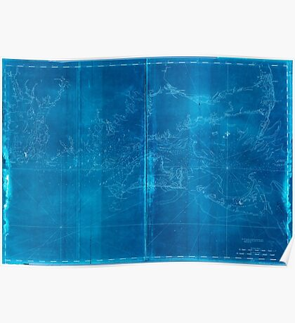 American Revolutionary War Era Maps 1750-1786 497 Coast of New England from Chatham Harbor to Narragansett Bay Inverted Poster
