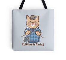 Knitting is Caring, cat woman Tote Bag