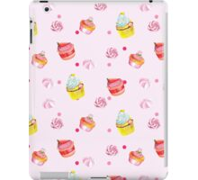 Cute pink background with watercolor cupcakes.   iPad Case/Skin