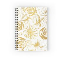 Elegant white background with gold flowers. Spiral Notebook