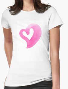 Watercolour heart isolated on white background Womens Fitted T-Shirt