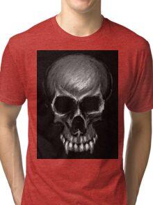 Greyscale vampire skull Tri-blend T-Shirt
