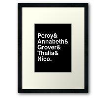 Percy & Annabeth & Grover & Thalia & Nico. (Percy Jackson) (Inverse) Framed Print