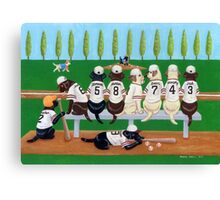 Baseball Player Labradors Canvas Print