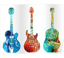 Abstract Guitars by Sharon Cummings Poster