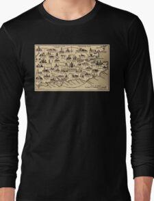 Vintage Map of Guildford Surrey, London, Kent, Oxford, Windsor Long Sleeve T-Shirt