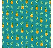 Pineapple Banana in Blue Green Photographic Print