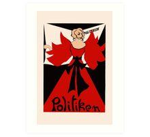 Modern retro style minimal art nouveau, Danish newspaper advert Art Print