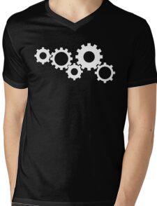 Gears - White Mens V-Neck T-Shirt