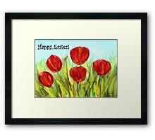 Easter Greetings - Red Tulips Framed Print