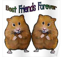 BFFs Forever, Two Cute Hamsters, Original Art, Friendship Poster