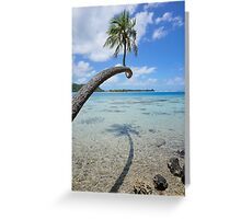 Coconut tree above shallow water French Polynesia Greeting Card