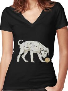 Dalmatian puppy Women's Fitted V-Neck T-Shirt
