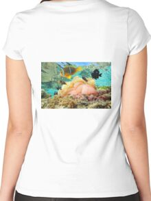 Sea anemone with fish anemonefish Pacific ocean Women's Fitted Scoop T-Shirt