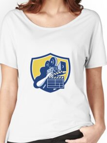 Cameraman Vintage Movie Camera Clapboard Shield Retro Women's Relaxed Fit T-Shirt
