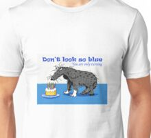 Happy Birthday,sad dog and cake with candles.humor  Unisex T-Shirt
