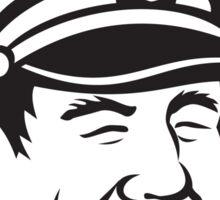 Sea Captain Pipe Smoke Circle Black and White Sticker