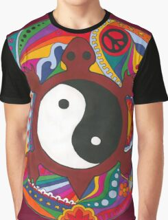 Psychedelic Turtle Yin Yang Graphic T-Shirt