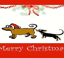 Two Dachshunds Merry Christmas by Mary Taylor