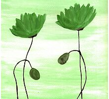 Green poppies by Monika Howarth