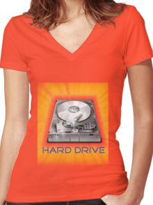 Hard Drive Women's Fitted V-Neck T-Shirt