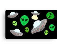 Space ft Alien Canvas Print