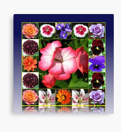 Sunshine and Showers - Summer Flowers Collage Canvas Print